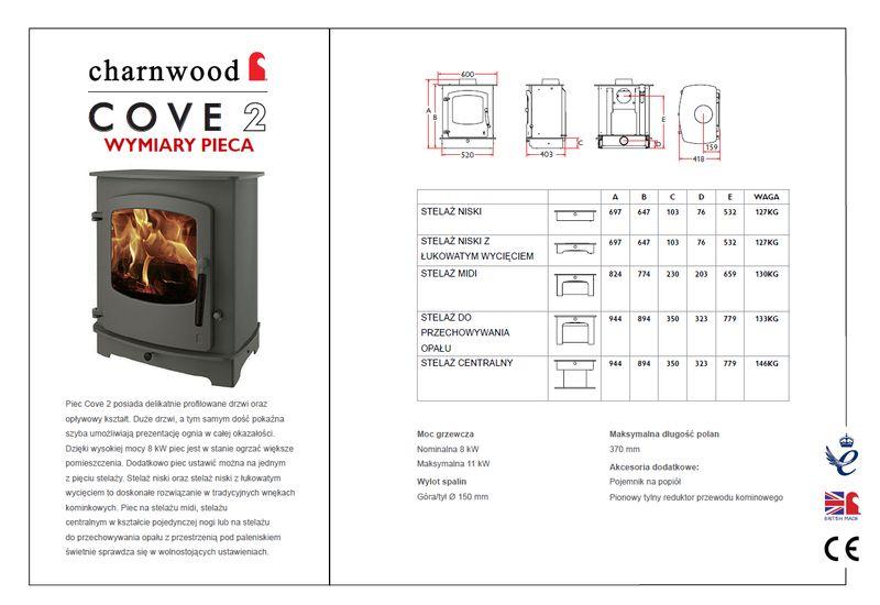 Charnwood Cove 2 wymiary piecyka wolnostojącego Charnwood model Cove 2