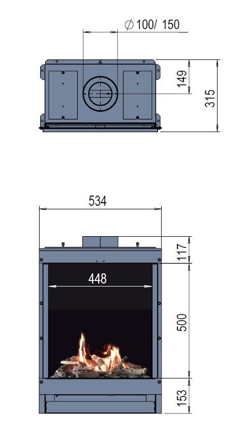 Faber Fyn 450 Wymiary wkładu kominkowego marki Faber  model Fyn 450