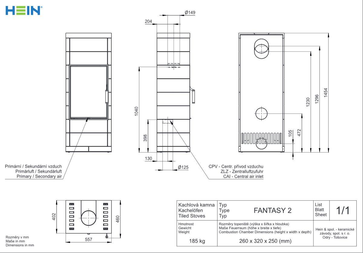 Hein Fantasy 2 wymiary pieca wolnostojącego marki Hein Fanstasy 2