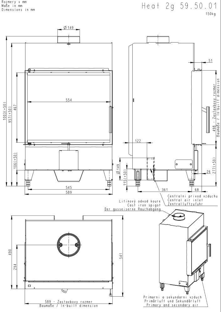 Romotop Heat 2 G 59 50 01 Wymiary wkładu kominkowego Romotop model Heat 2  G 59 50 01