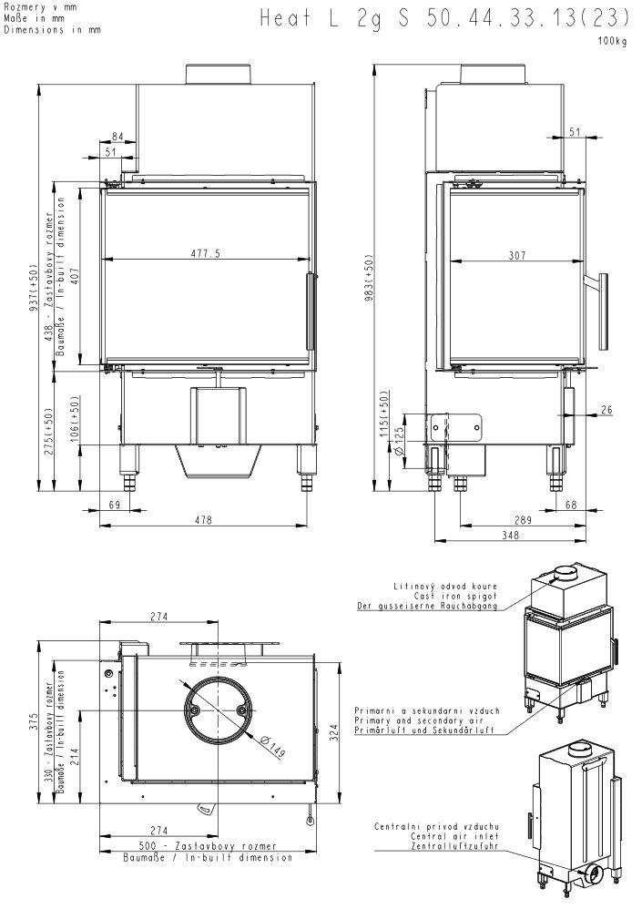 Romotop Heat 2 G S 50 44 33 13 Lewy lub Prawy Wymiary wkładu kominkowego Romotop model Heat 2 G S 50 44 33 13 Lewy lub Prawy