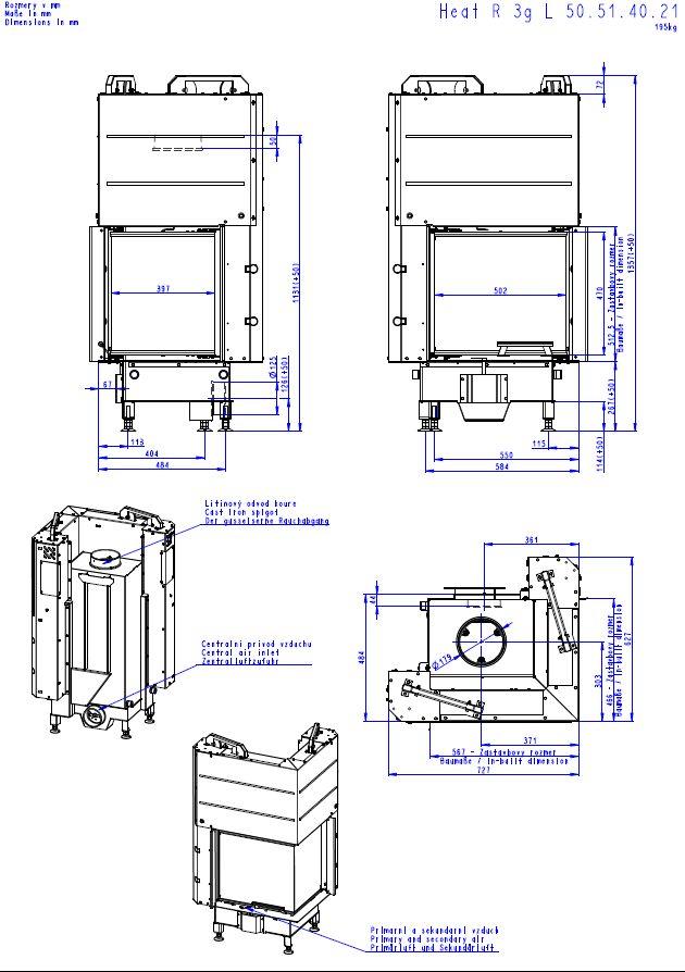 Romotop Heat 3 G L 50 51 40 21 Lewy lub Prawy Wymiary wkładu marki Romotop model Heat 3 G L 50 51 40 21 szyba składana