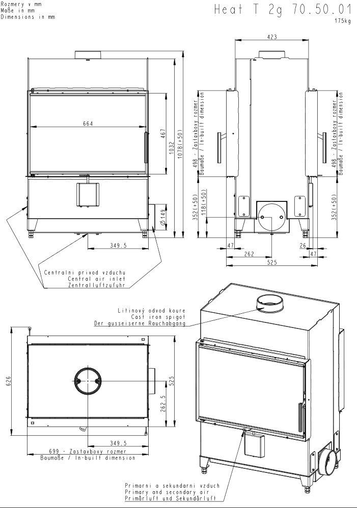 Romotop Heat T 2 G 70 50 01 Tunel Wymiary wkładu kominkowego Romotop model Heat T 2 G 70 50 01 Tunel