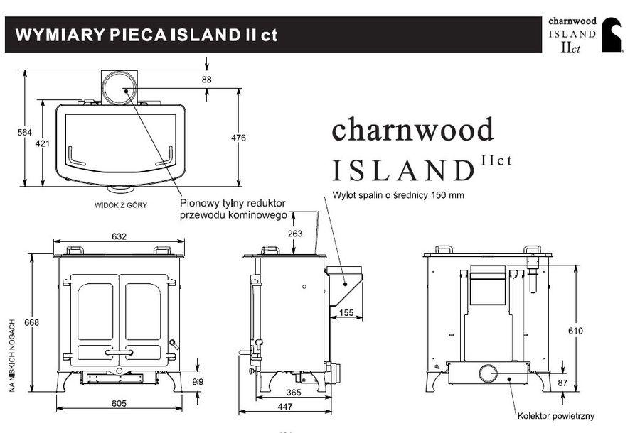 Charnwood Island 2 CT Wymiary piecyka wolnostojącego marki Charnwood model Island 2 CT