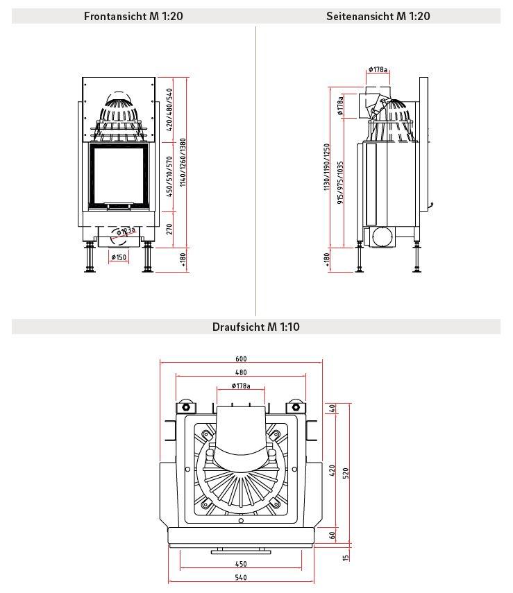 Schmid Lina 45 H Wymiary wkładu kominkowego marki Schmid model lina 45 H