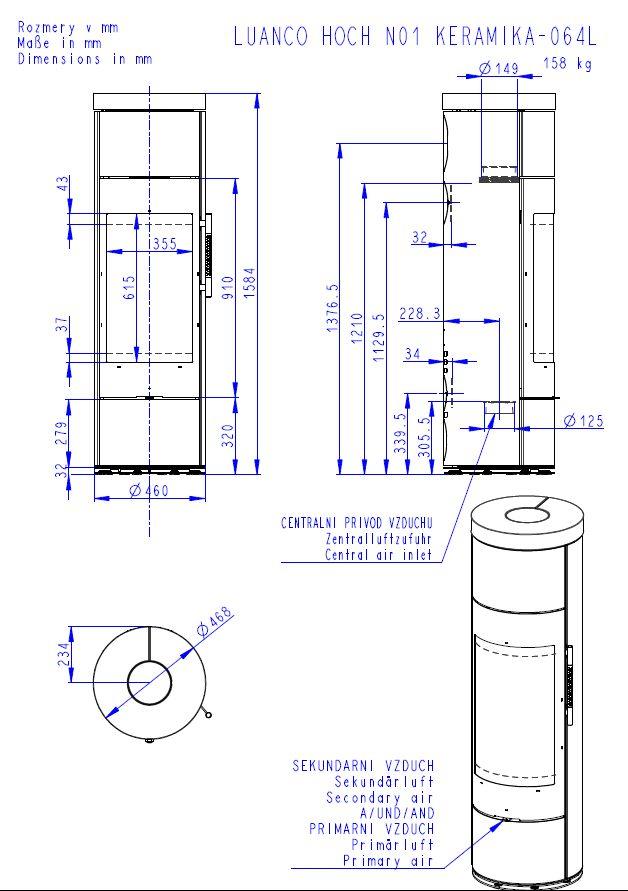 Romotop Luanco N 01 Akum wymiary piecyka wolnostojącego marki Romotop model Luanco N 01 Akumulacja