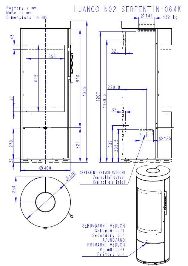 Romotop Luanco N 02 wymiary piecyka wolnostojącego marki Romotop model Luanco N 02