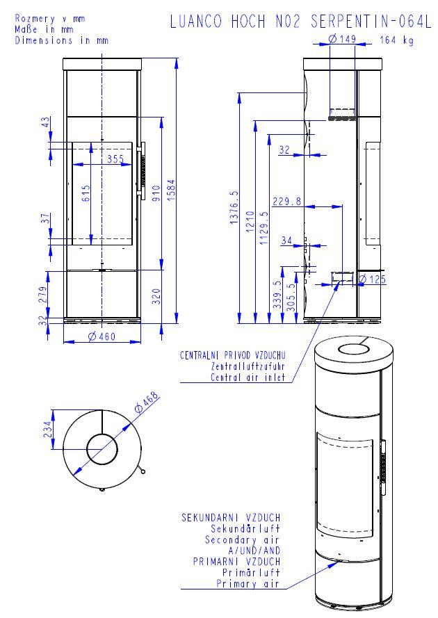 Romotop Luanco N 02 Akum wymiary piecyka wolnostojącego marki Romotop model Luanco N 02 Akumulacja