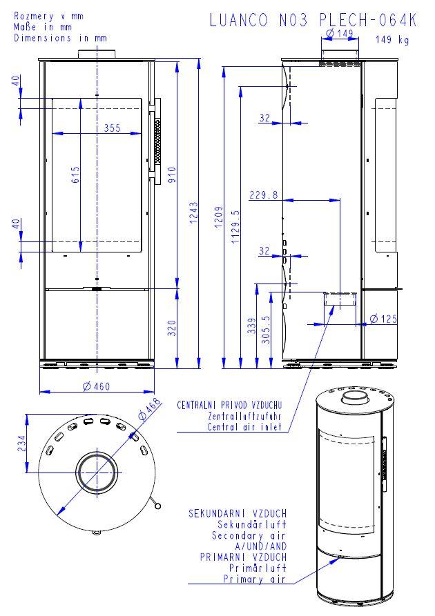 Romotop Luanco N 03 wymiary piecyka wolnostojącego marki Romotop model Luanco N 03