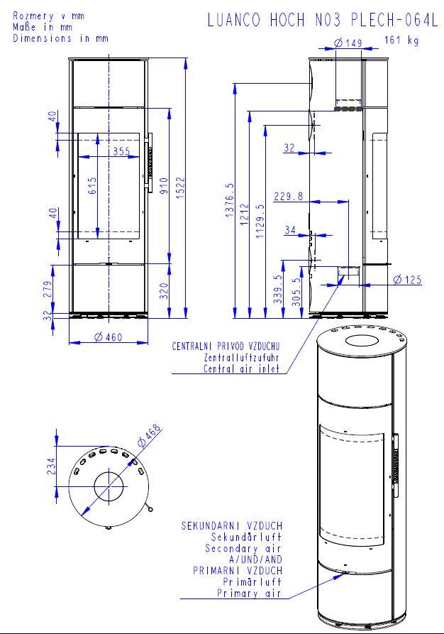 Romotop Luanco N 03 Akum wymiary piecyka wolnostojącego marki Romotop model Luanco N 03 Akumulacja