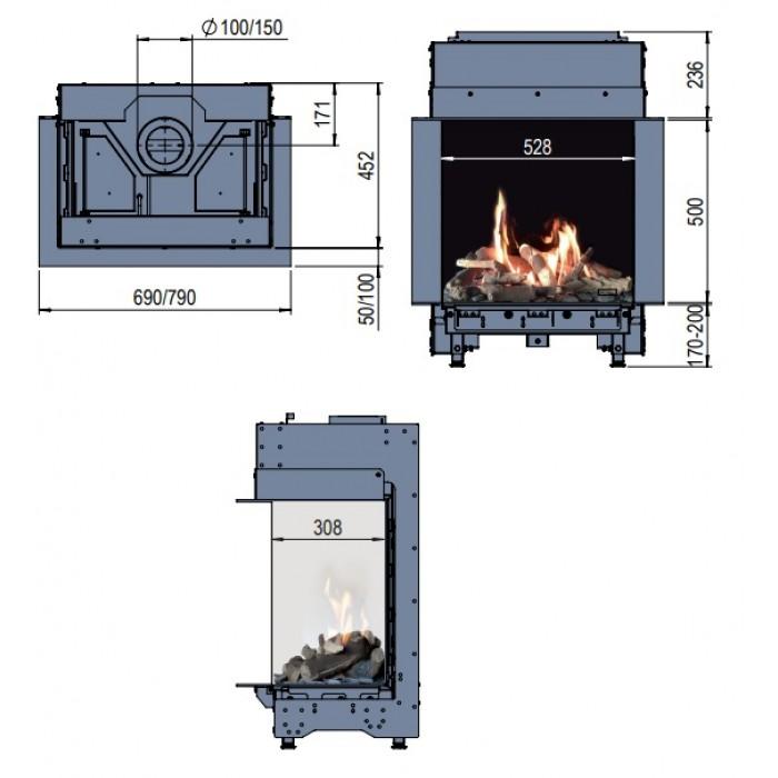 Faber Martix 450/500 III wymiary wkładu komionkowego Marki Faber model Matrix 450x500 III
