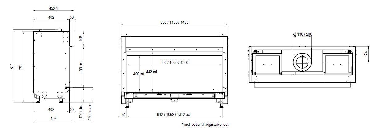 Faber Matrix 1050/400 I wymiary wkładu kominkowego Marki Faber model Matrix 1050x400 I