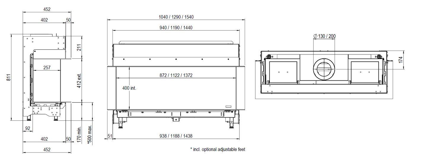 Faber Matrix 1050/400 III wymiary wkładu kominkowego Marki Faber model Matrix 1050x400 III