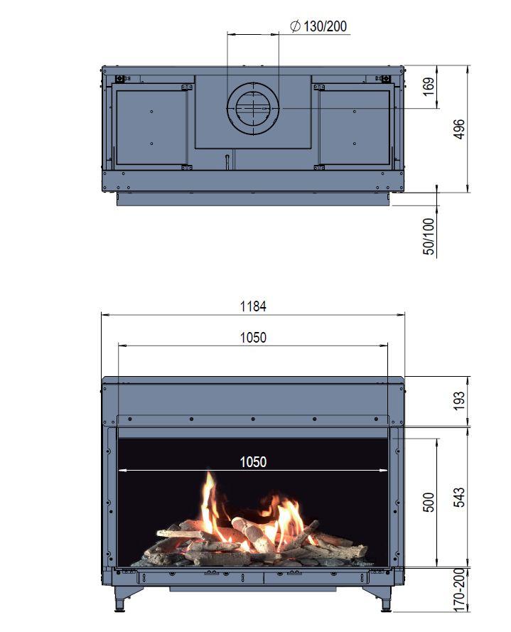 Faber Matrix 1050/500 I wymiary wkładu komionkowego Marki Faber model Matrix1050x500 I