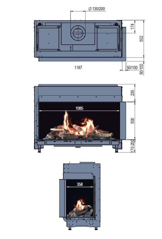 Faber Matrix 1050/500 II L/R wymiary wkładu komionkowego Marki Faber model Matrix1050x500 II
