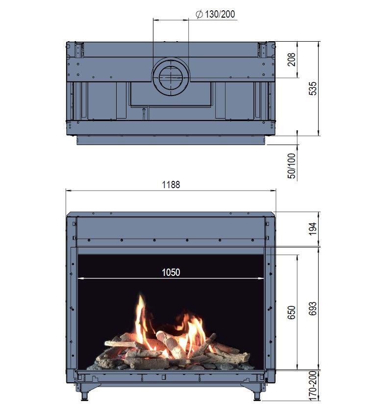 Faber Matrix 1050/650 I wymiary wkładu komionkowego Marki Faber model Matrix1050x650 I
