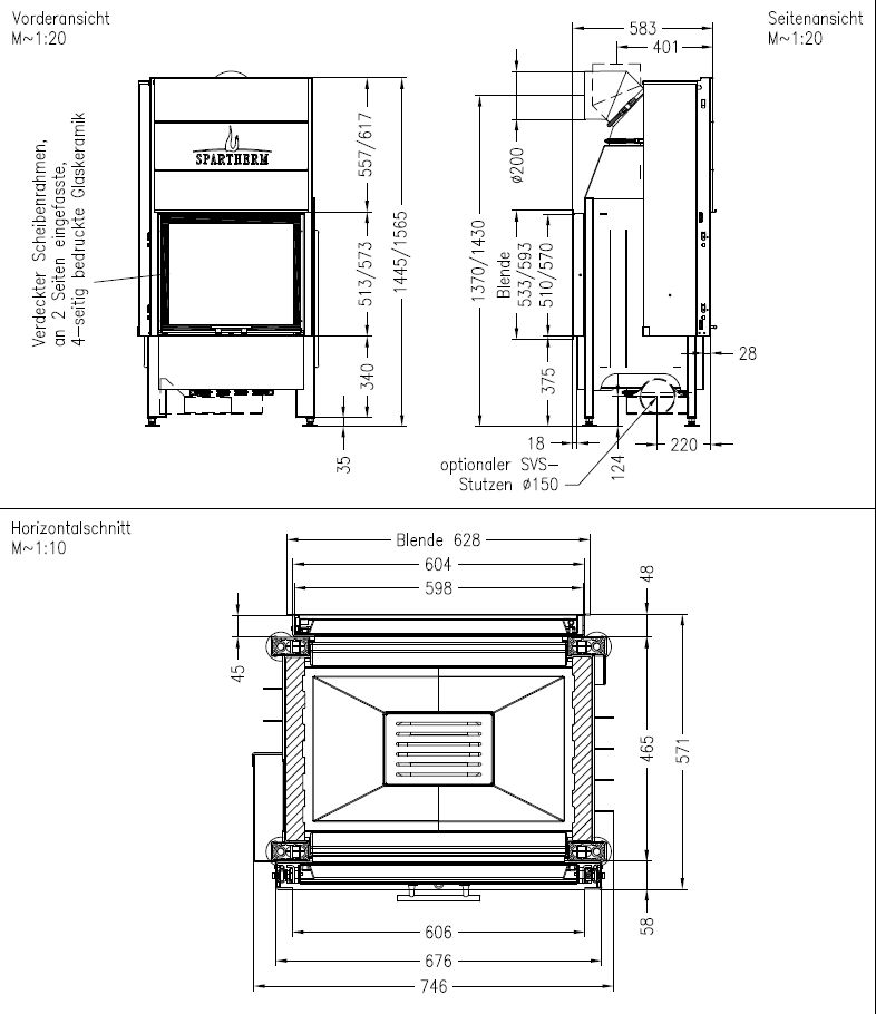 Spartherm Mini S-FDh-4S wymiary wkładu kominkowego marki Spartherm model Mini S-FDh-4S