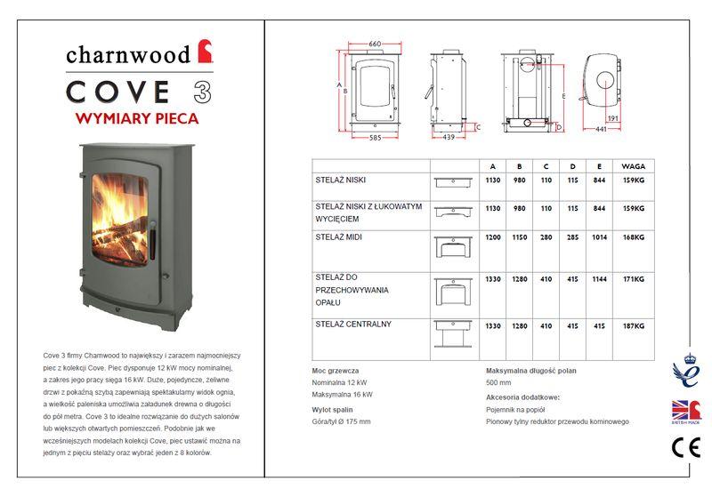 Charnwood Cove 3 wymiary piecyka wolnostojącego Charnwood model Cove 3