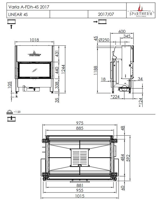 Spartherm Varia A-FDh-4S wymiary wkładu kominkowego marki Spartherm model Varia A-FDh-4S
