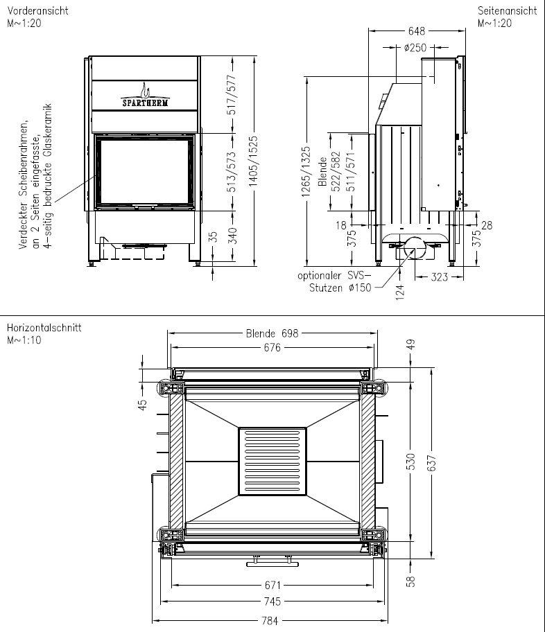 Spartherm Varia FDh-4S wymiary wkładu kominkowego marki Spartherm model Varia FDh-4S