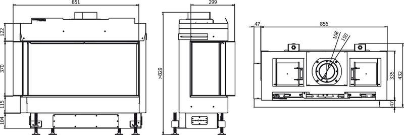 Defro Home Vital 37 S BL/BP Lewy lub Prawy wymiary wkładu kominkowego Defro Home Vital 37S BL lub BP