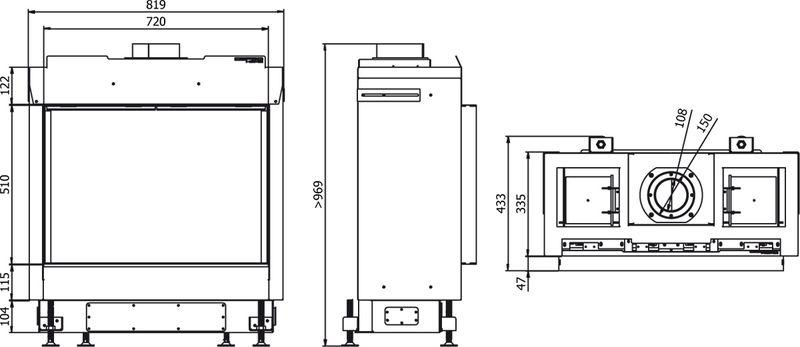 Defro Home Vital 51 S wymiary wkładu kominkowego Defro Home Vital 51 S