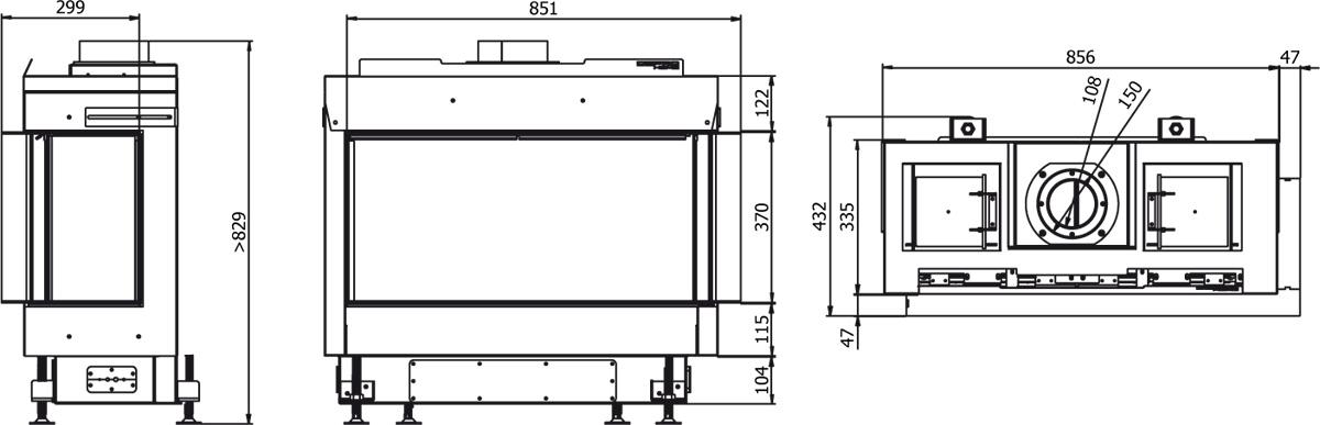Defro Home vital_51_s_bl_bp_lewy_lub_prawy wymiary wkładu kominkowego Defro Home Vital 51S BL lub BP