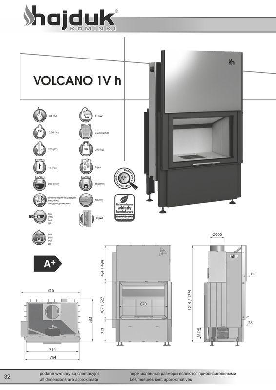 Hajduk Volcano 1Vh wymiary wkładu kominkowego Hajduk Volcano 1Vh