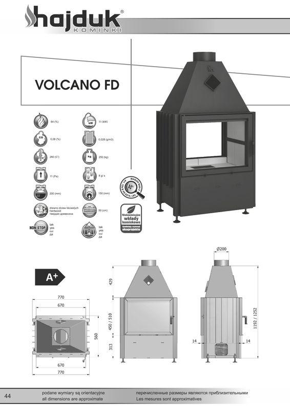 Hajduk Volcano FD wymiary wkładu kominkowego Hajduk Volcano FD