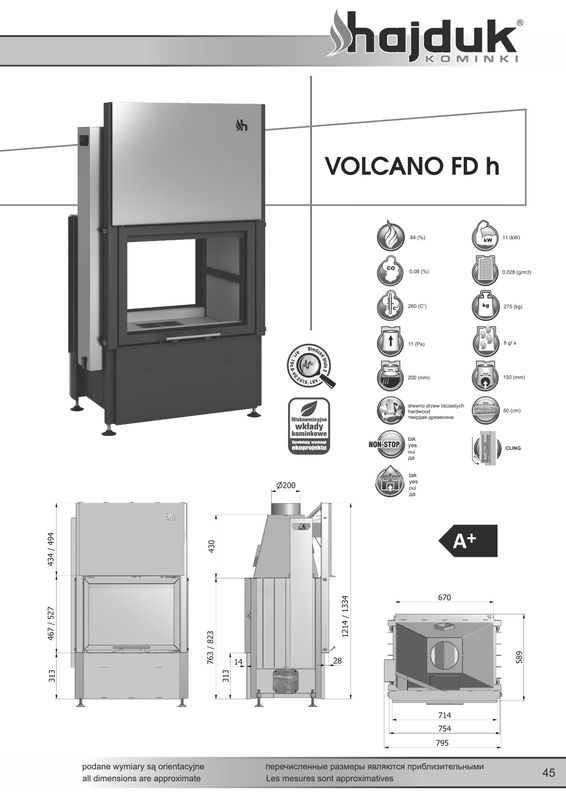 Hajduk Volcano FDh wymiary wkładu kominkowego Hajduk Volcano FDh